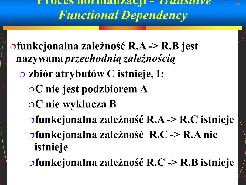 40 Proces normalizacji - Transitive Functional Dependency funkcjonalna zależność R.A -> R.B jest nazywana przechodnią zależnością zbiór atrybutów C is