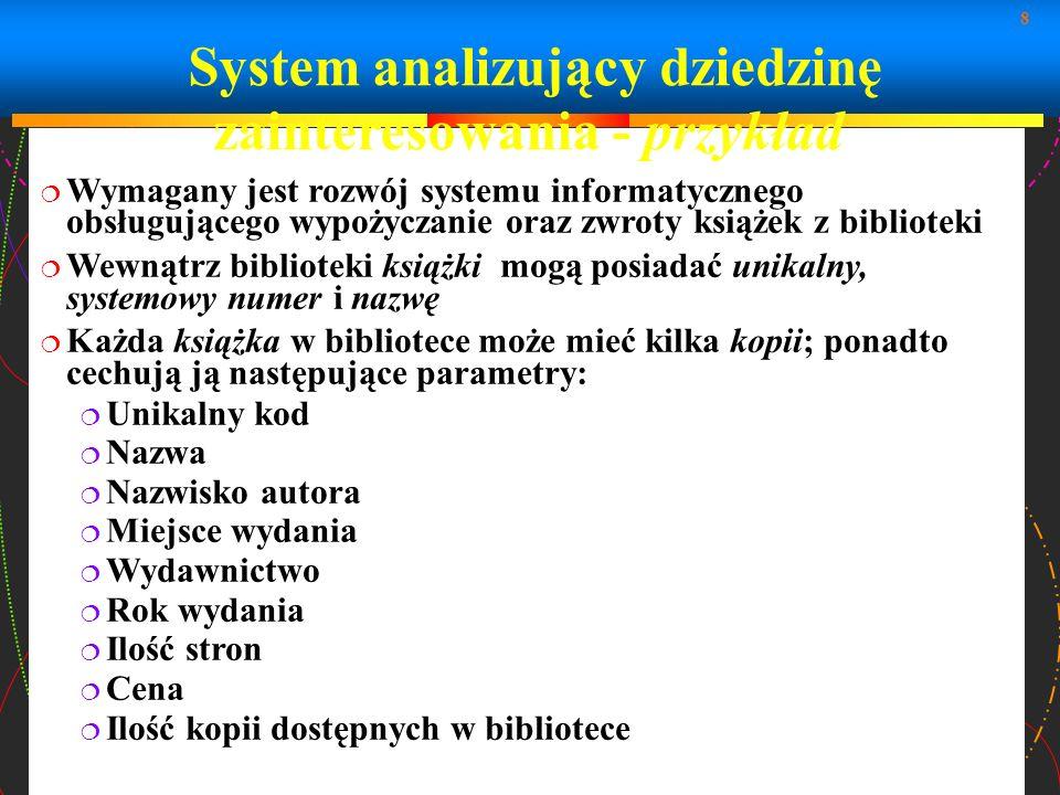 8 System analizujący dziedzinę zainteresowania - przykład Wymagany jest rozwój systemu informatycznego obsługującego wypożyczanie oraz zwroty książek