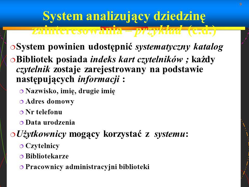 9 System analizujący dziedzinę zainteresowania – przykład (c.d.) System powinien udostępnić systematyczny katalog Bibliotek posiada indeks kart czytel