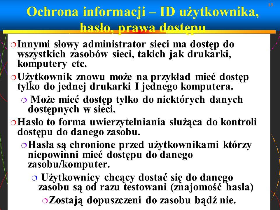 13 Ochrona informacji – ID użytkownika, hasło, prawa dostępu Innymi słowy administrator sieci ma dostęp do wszystkich zasobów sieci, takich jak drukar
