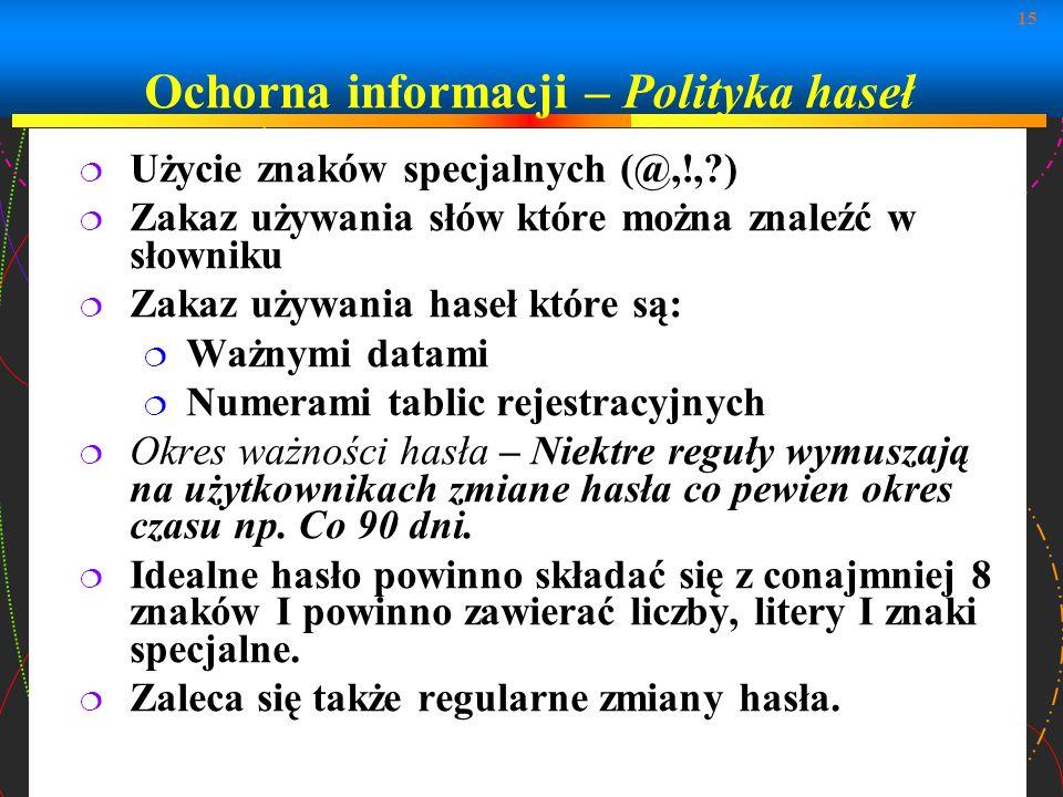 15 Użycie znaków specjalnych (@,!,?) Zakaz używania słów które można znaleźć w słowniku Zakaz używania haseł które są: Ważnymi datami Numerami tablic