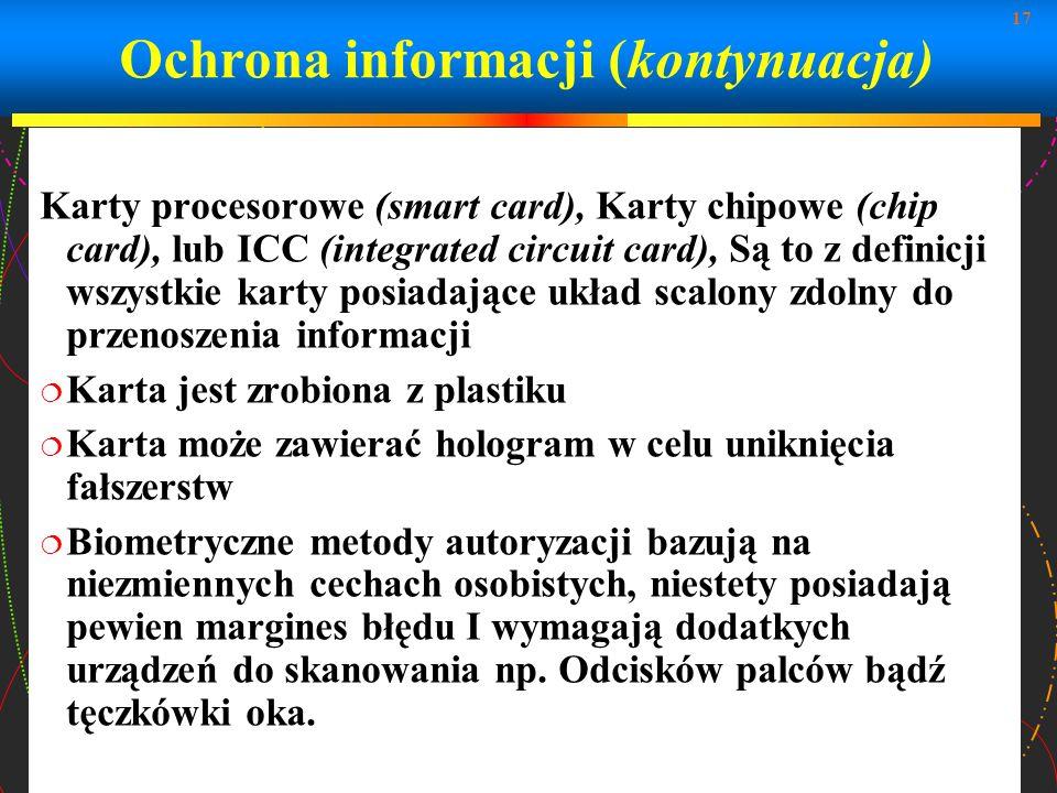 17 Karty procesorowe (smart card), Karty chipowe (chip card), lub ICC (integrated circuit card), Są to z definicji wszystkie karty posiadające układ s