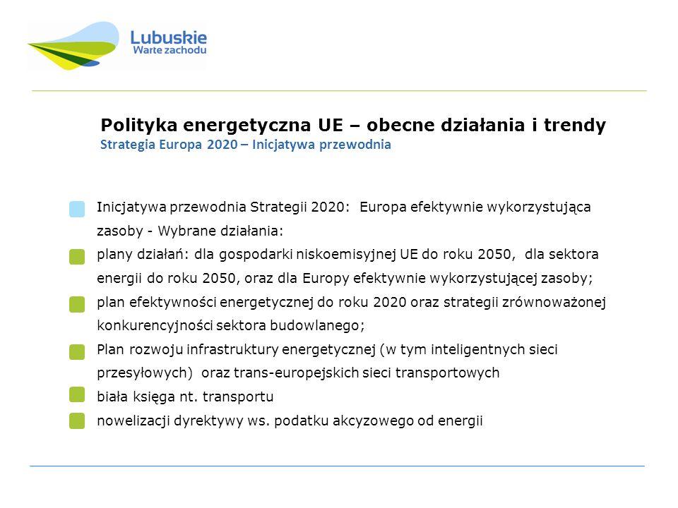 Polityka energetyczna UE – obecne działania i trendy Strategia Europa 2020 – Inicjatywa przewodnia Inicjatywa przewodnia Strategii 2020: Europa efekty