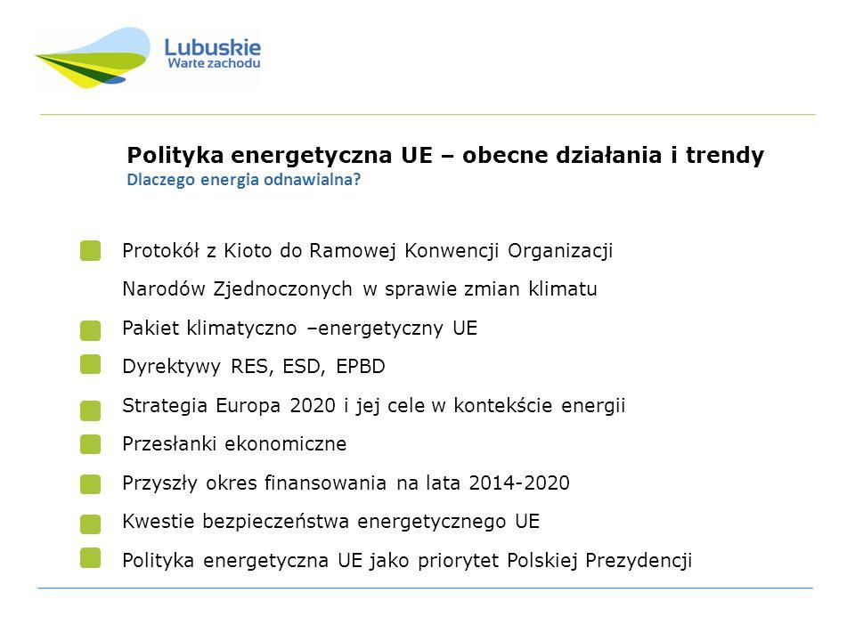 Polityka energetyczna UE – obecne działania i trendy Postanowienia z Kioto Zobowiązanie do redukcji emisji antropologicznych gazów cieplarnianych (CO2, N20, HFC, PFG, SF6) Okres zobowiązań: lata 2008-2012 Zobowiązanie do ograniczenia lub redukcji emisji co najmniej o 5% poniżej poziomu z 1990 r.