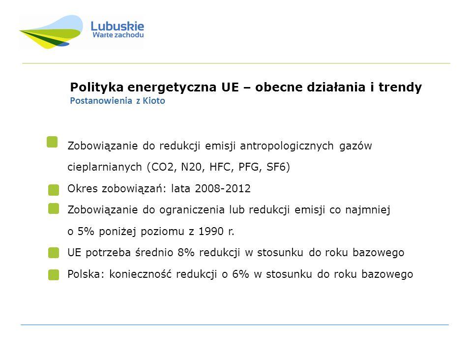 Polityka energetyczna UE – obecne działania i trendy Pakiet klimatyczno –energetyczny UE Cel: redukcja emisji CO2 o 20% do 2020 r (rok bazowy: 1990) poprzez: Jednolity system handlu uprawnieniami do emisji ETS Realizacja niezależnych zobowiązań Wspólnoty w zakresie redukcji emisji gazów cieplarnianych w sektorach nieobjętych systemem ETS Zmiany struktury zużycia energii w krajach UE – osiągnięcie celów dotyczących zastosowania OZE w każdym kraju (Polska: 15%) Promocja i rozwój technologii CCS- sekwestracji CO2