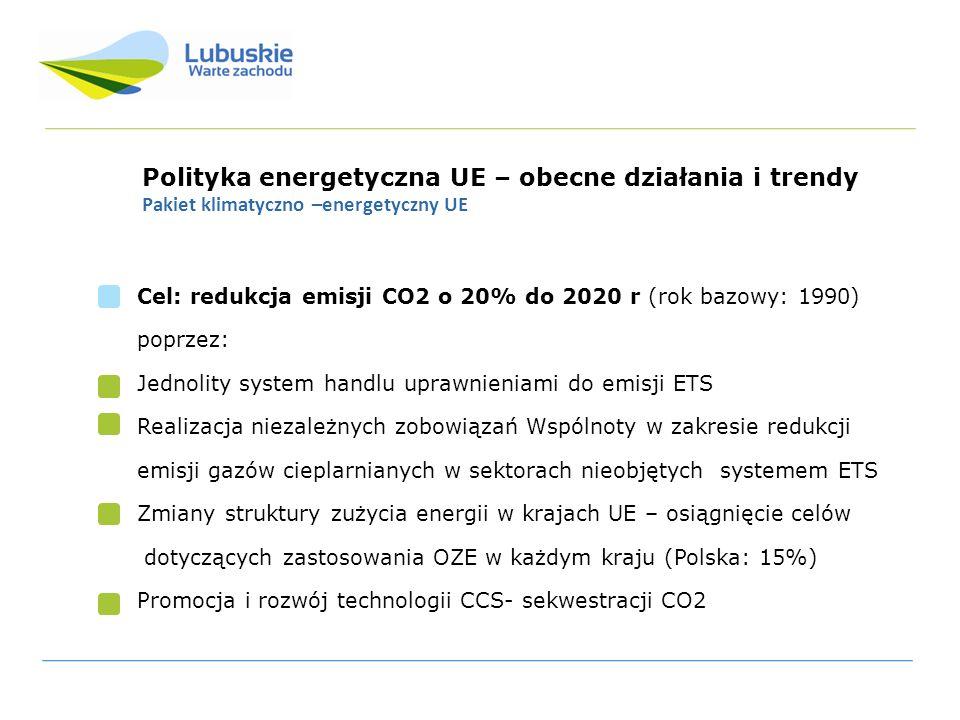 Polityka energetyczna UE – obecne działania i trendy Pakiet klimatyczno –energetyczny: Dyrektywa o odnawialnych źródłach energii (RES) Dyrektywa 2009/28/WE w sprawie promowania stosowania energii ze źródeł odnawialnych Pierwszeństwo przyłączania OZE do sieci Konieczność gwarancji przesyłu i dystrybucji energii z OZE przez operatorów systemów Konieczność informowania konsumentów o systemach certyfikacji Promowanie wydajności i oszczędności energetycznej