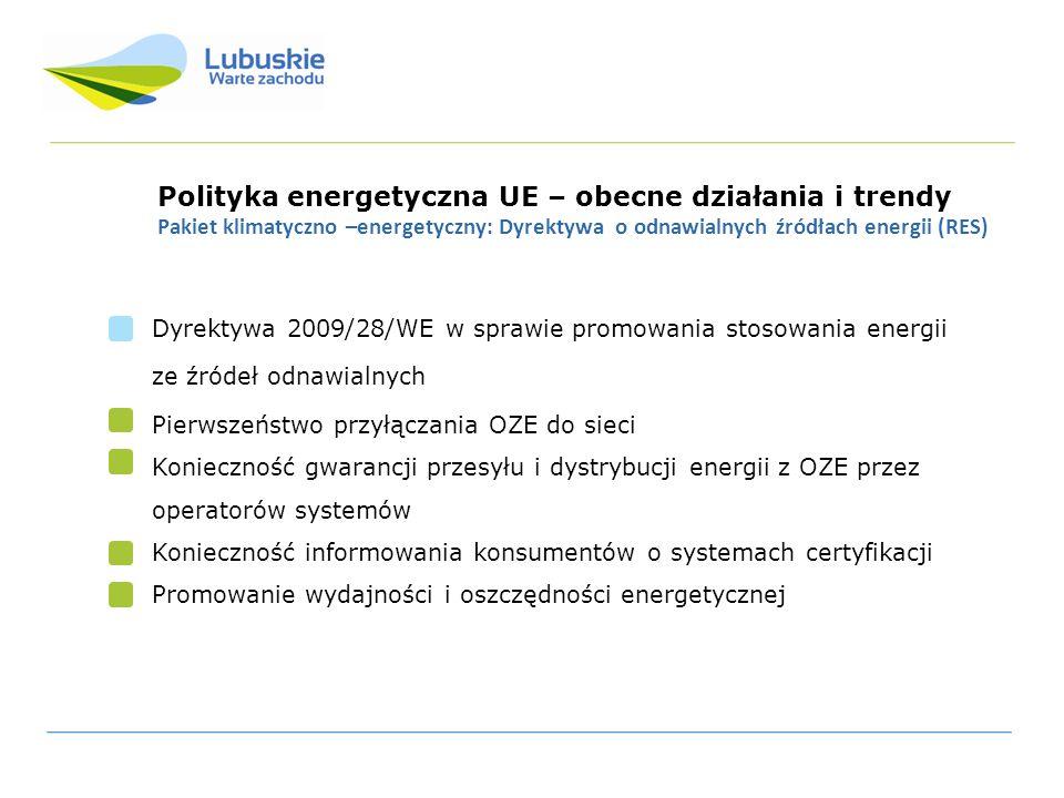 Polityka energetyczna UE – obecne działania i trendy Pakiet klimatyczno –energetyczny: Dyrektywa o odnawialnych źródłach energii (RES) Dyrektywa 2009/