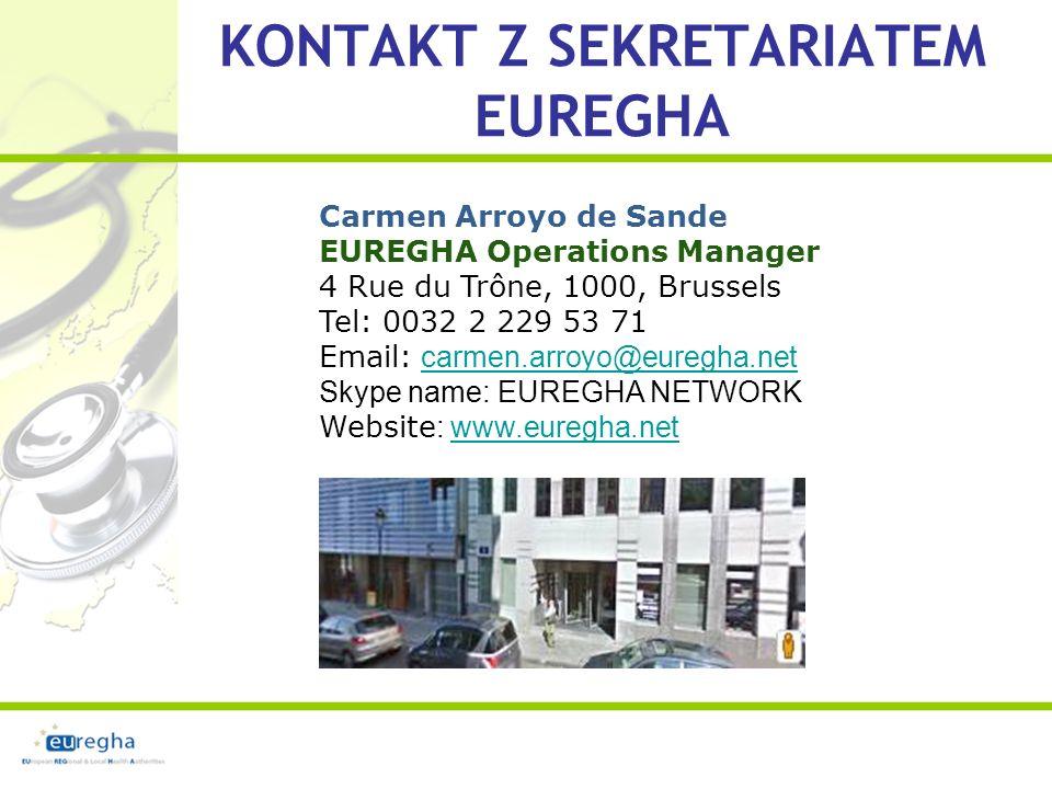 KONTAKT Z SEKRETARIATEM EUREGHA Carmen Arroyo de Sande EUREGHA Operations Manager 4 Rue du Trône, 1000, Brussels Tel: 0032 2 229 53 71 Email: carmen.arroyo@euregha.net Skype name: EUREGHA NETWORK Website : www.euregha.netcarmen.arroyo@euregha.netwww.euregha.net
