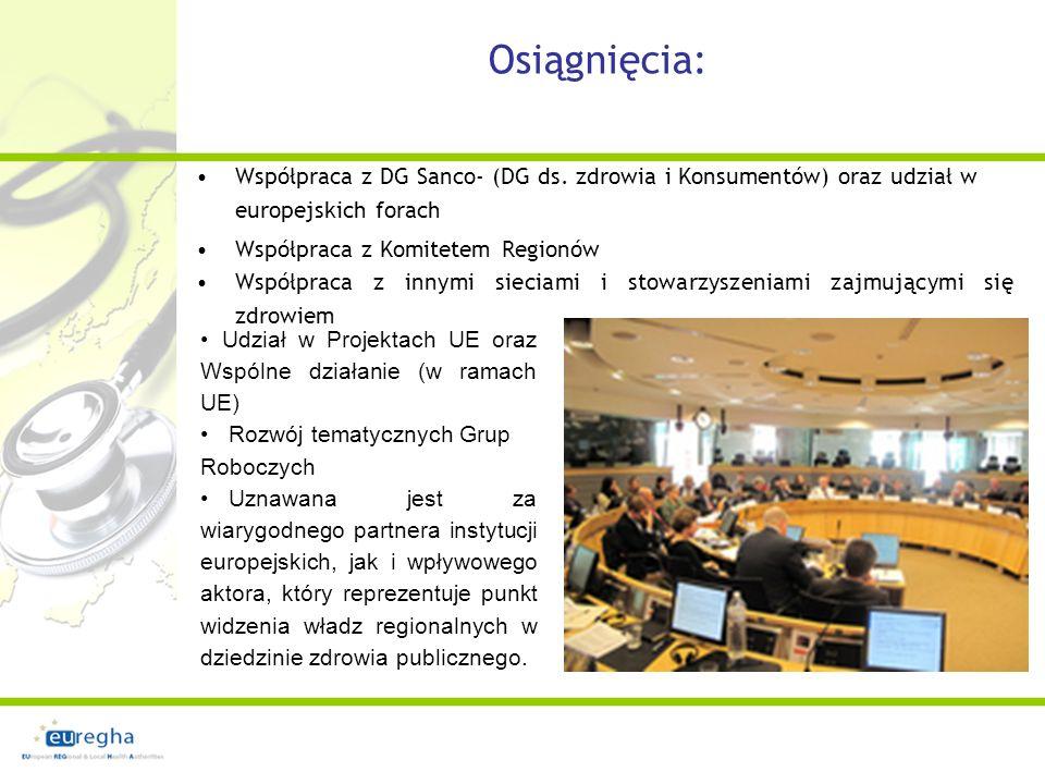 C złonkowstwo w sieci EUREGHA daje możliwość: promocji uczestnictwa we wspólnych działaniach i projektach wzięcia udziału w wizytach studyjnych i okrągłym stole na temat polityki UE, uczestnictwa w spotkaniach Grupy Konsultacyjnej EUREGHA, powiązania z innymi regionami wsparcia merytorycznego wpływania na kształt stanowisk sieci EUREGHA przesyłanych do Parlamentu Europejskiego i Komisji Europejskiej, dostępu do informacji dostępnych w innych platformach współpracy międzyregionalnej, korzystania z korespondencji spraw związanych z orzecznictwem w sprawach zdrowia jak i możliwości finansowania przedsięwzięć w tym zakresie,