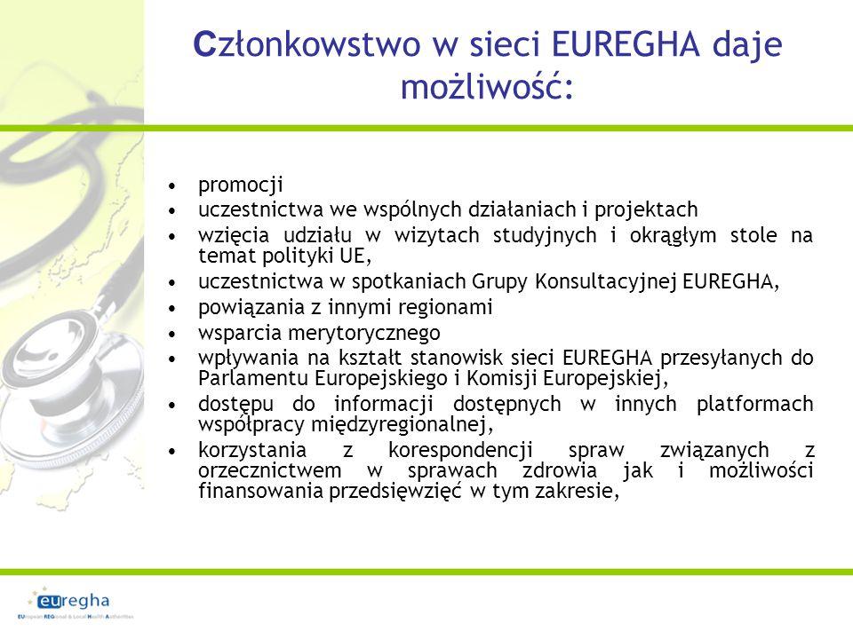 Przystąpienie do stowarzyszenia Pełnoprawne członkowstwo wiąże się z opłacaniem corocznej składki w wysokości 5 tyś EURO niższa składka 1000 dla regionów z liczbą mieszkańców poniżej 100.000 Deklaracja przystąpienia By stać się członkiem Stowarzyszenia EUREGHA należy podpisać Honorową deklarację