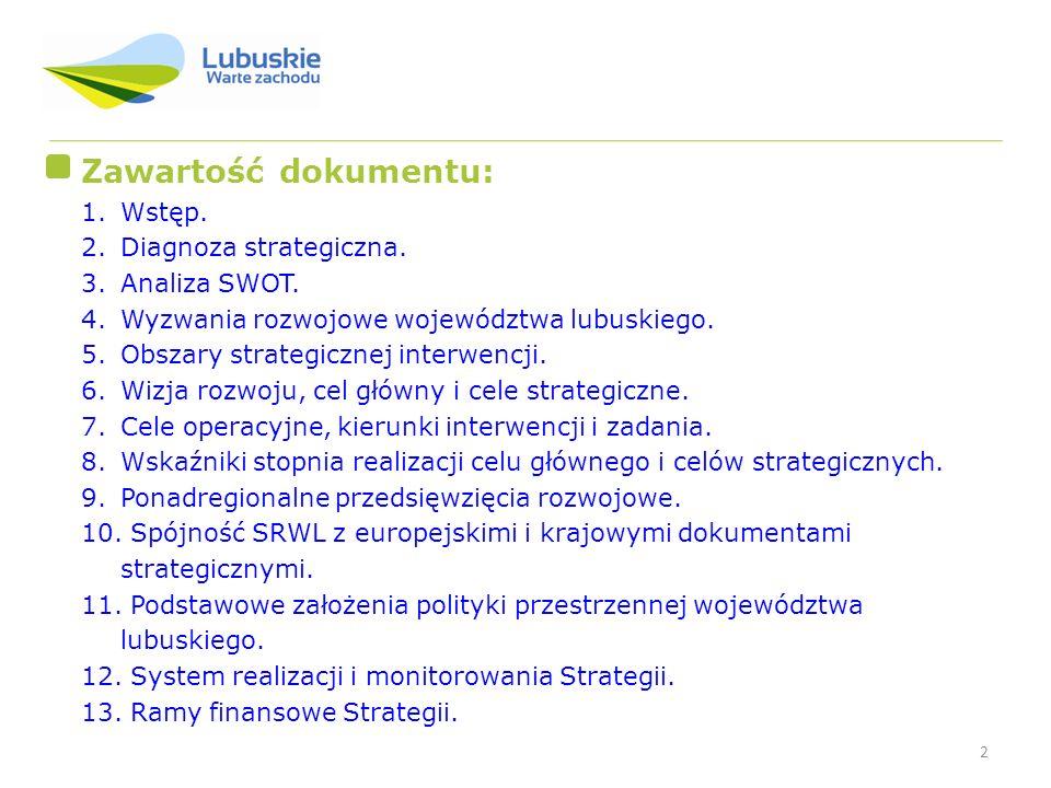 2 Zawartość dokumentu: 1.Wstęp. 2.Diagnoza strategiczna. 3.Analiza SWOT. 4.Wyzwania rozwojowe województwa lubuskiego. 5.Obszary strategicznej interwen