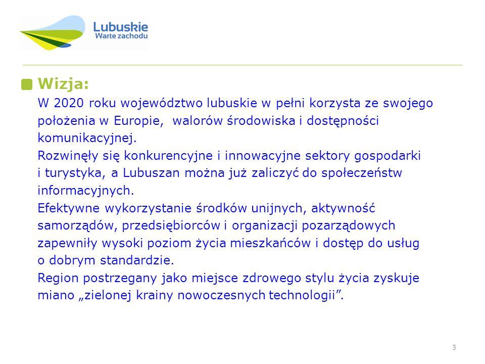 3 Wizja: W 2020 roku województwo lubuskie w pełni korzysta ze swojego położenia w Europie, walorów środowiska i dostępności komunikacyjnej. Rozwinęły