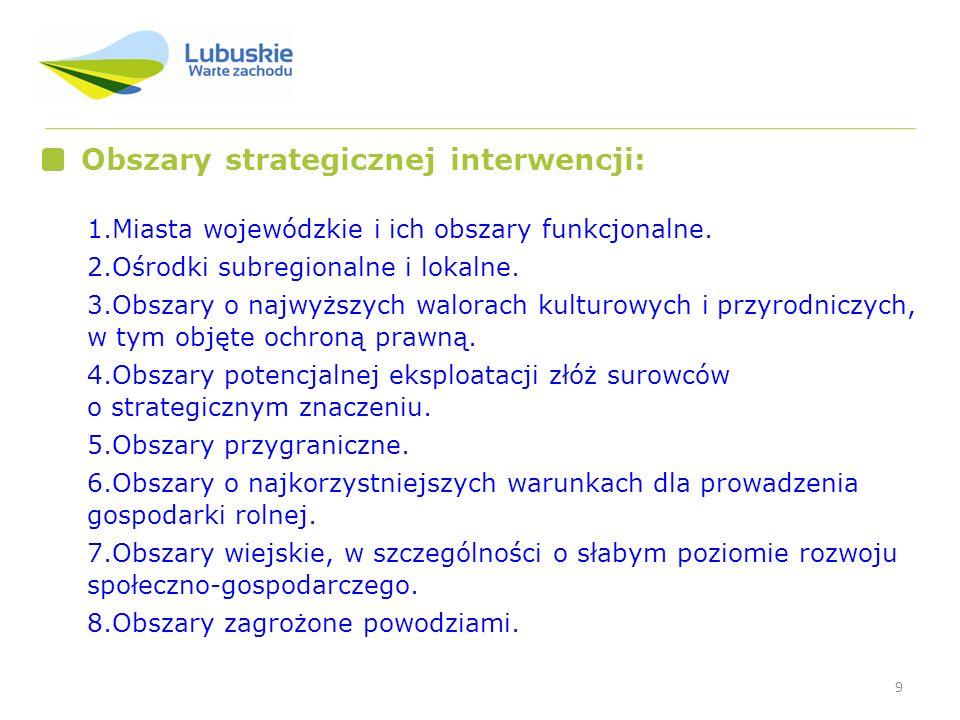 9 Obszary strategicznej interwencji: 1.Miasta wojewódzkie i ich obszary funkcjonalne. 2.Ośrodki subregionalne i lokalne. 3.Obszary o najwyższych walor