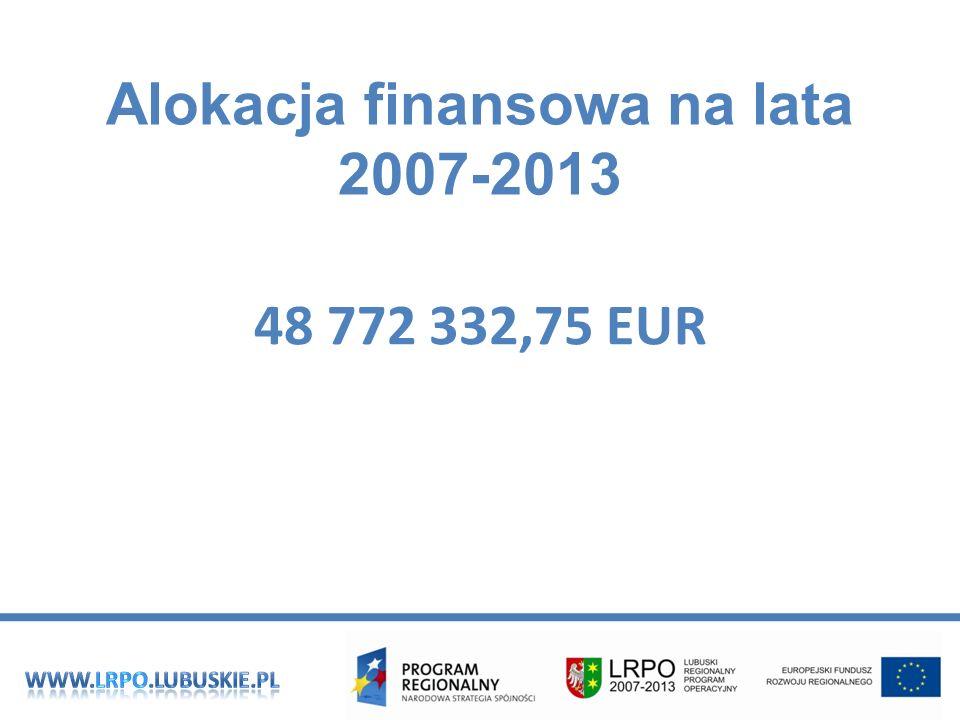 Alokacja finansowa na lata 2007-2013 48 772 332,75 EUR