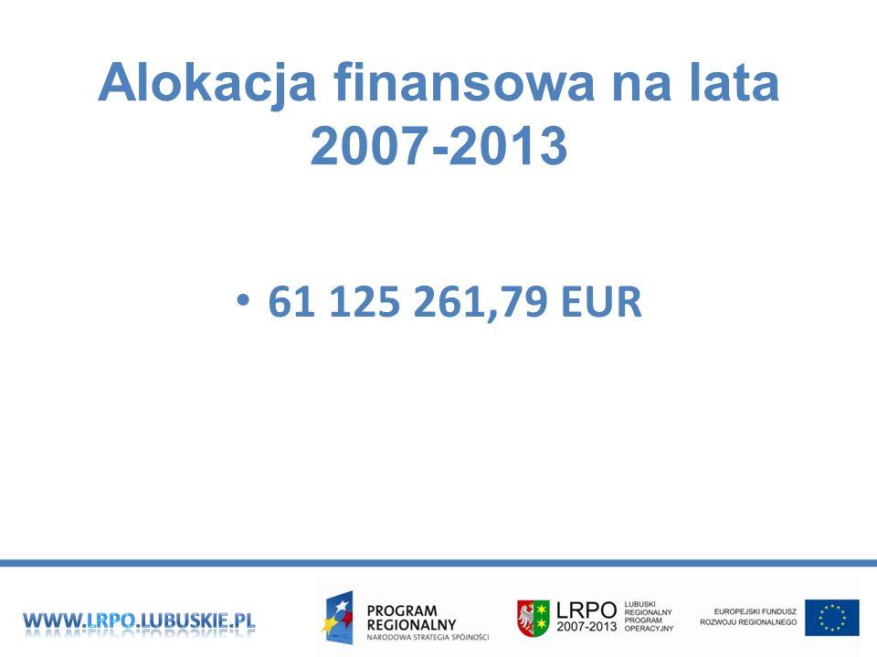 Alokacja finansowa na lata 2007-2013 61 125 261,79 EUR