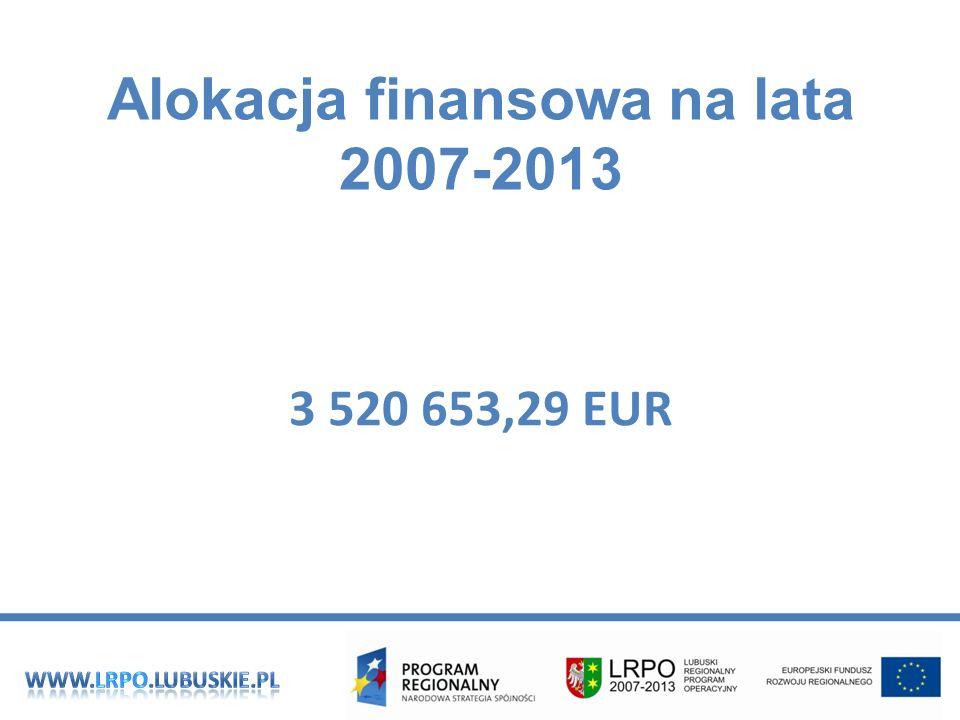 Alokacja finansowa na lata 2007-2013 3 520 653,29 EUR