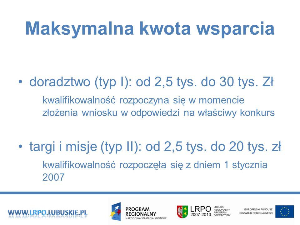 Maksymalna kwota wsparcia doradztwo (typ I): od 2,5 tys.