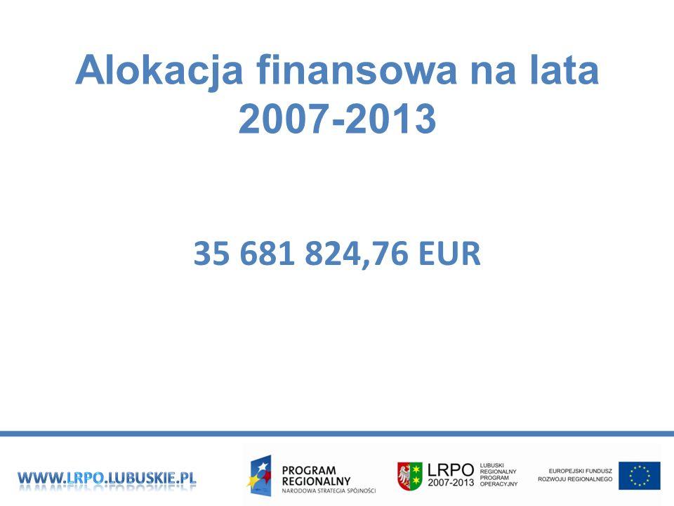 Alokacja finansowa na lata 2007-2013 35 681 824,76 EUR