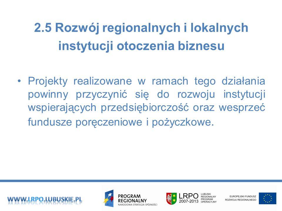 2.5 Rozwój regionalnych i lokalnych instytucji otoczenia biznesu Projekty realizowane w ramach tego działania powinny przyczynić się do rozwoju instytucji wspierających przedsiębiorczość oraz wesprzeć fundusze poręczeniowe i pożyczkowe.