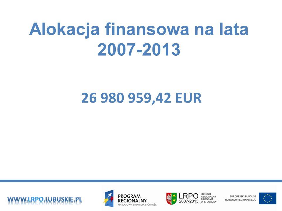 Alokacja finansowa na lata 2007-2013 26 980 959,42 EUR