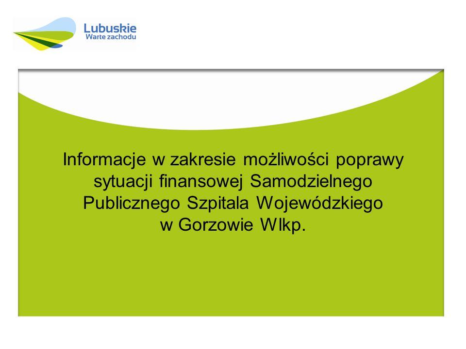 Departament Ochrony Zdrowia UMWL w Zielonej Górze Działania podejmowane przez Marszałka Województwa Lubuskiego w zakresie poprawy dramatycznej sytuacji Szpitala w Gorzowie Wlkp.