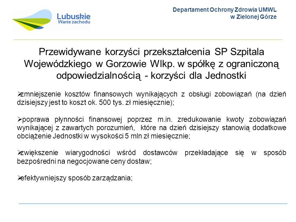 Departament Ochrony Zdrowia UMWL w Zielonej Górze Przewidywane korzyści przekształcenia SP Szpitala Wojewódzkiego w Gorzowie Wlkp. w spółkę z ogranicz