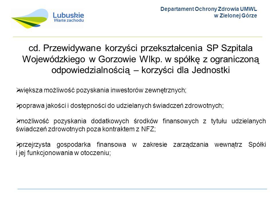 Departament Ochrony Zdrowia UMWL w Zielonej Górze cd. Przewidywane korzyści przekształcenia SP Szpitala Wojewódzkiego w Gorzowie Wlkp. w spółkę z ogra