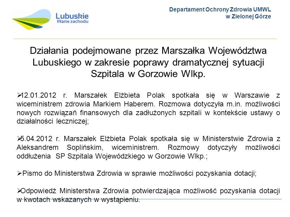 Departament Ochrony Zdrowia UMWL w Zielonej Górze Działania podejmowane przez Marszałka Województwa Lubuskiego w zakresie poprawy dramatycznej sytuacj
