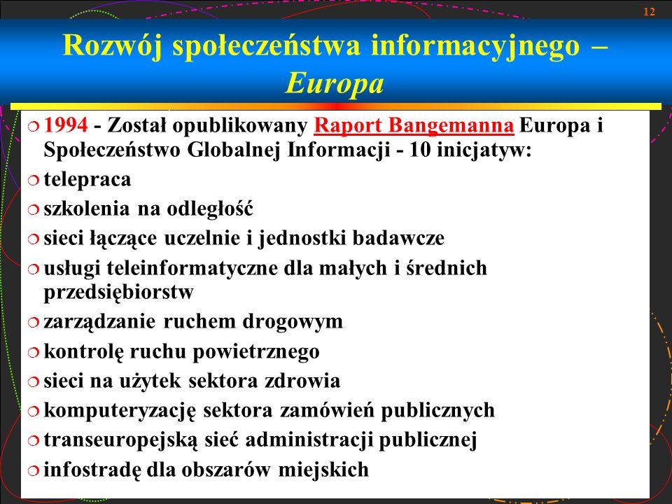 12 Rozwój społeczeństwa informacyjnego – Europa 1994 - Został opublikowany Raport Bangemanna Europa i Społeczeństwo Globalnej Informacji - 10 inicjatyw:Raport Bangemanna telepraca szkolenia na odległość sieci łączące uczelnie i jednostki badawcze usługi teleinformatyczne dla małych i średnich przedsiębiorstw zarządzanie ruchem drogowym kontrolę ruchu powietrznego sieci na użytek sektora zdrowia komputeryzację sektora zamówień publicznych transeuropejską sieć administracji publicznej infostradę dla obszarów miejskich