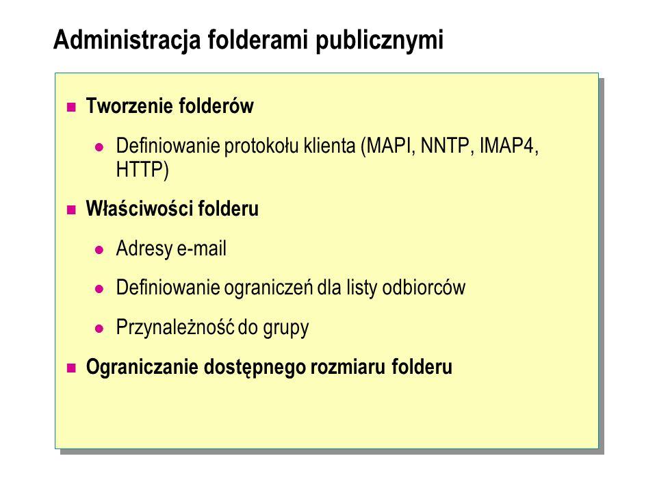 Administracja folderami publicznymi Tworzenie folderów Definiowanie protokołu klienta (MAPI, NNTP, IMAP4, HTTP) Właściwości folderu Adresy e-mail Defi