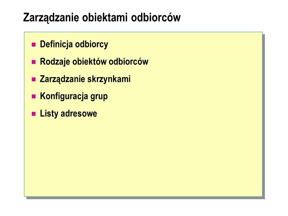 Zarządzanie obiektami odbiorców Definicja odbiorcy Rodzaje obiektów odbiorców Zarządzanie skrzynkami Konfiguracja grup Listy adresowe
