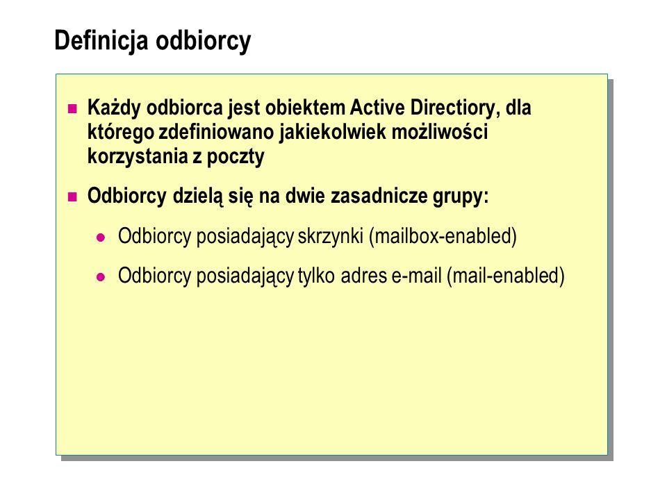 Definicja odbiorcy Każdy odbiorca jest obiektem Active Directiory, dla którego zdefiniowano jakiekolwiek możliwości korzystania z poczty Odbiorcy dzie