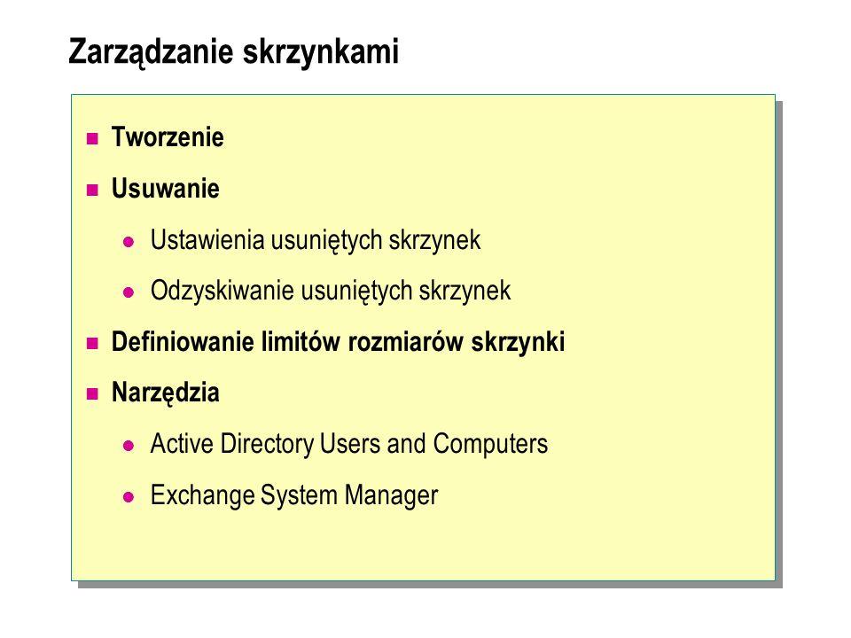 Konfiguracja grup Grupy stanowią obiekty, do których można przypisać adres e-mail Wiadomość nadana na adres grupy zostanie przekazana wszystkim jej członkom Rodzaje grup: Grupy zabezpieczeń, grupy dystrybucyjne Grupy oparte na zapytaniach – grupy tworzone w oparciu o zapytanie LDAP