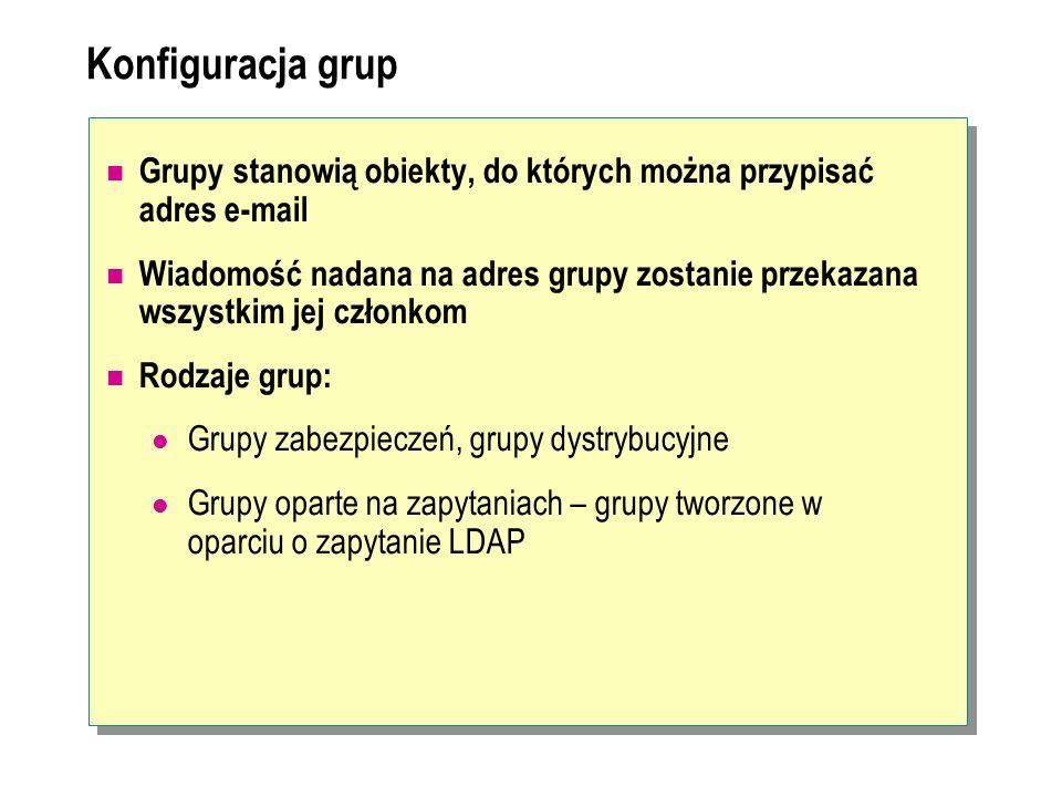 Konfiguracja grup Grupy stanowią obiekty, do których można przypisać adres e-mail Wiadomość nadana na adres grupy zostanie przekazana wszystkim jej cz