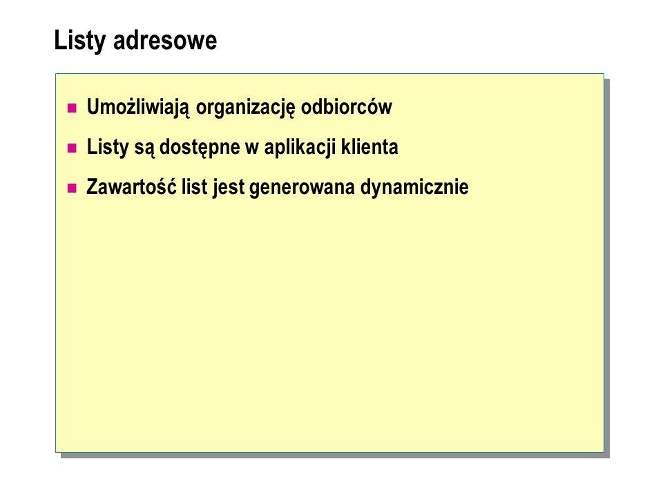 Listy adresowe Umożliwiają organizację odbiorców Listy są dostępne w aplikacji klienta Zawartość list jest generowana dynamicznie