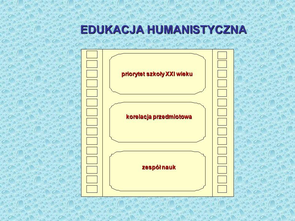 korelacja przedmiotowa EDUKACJA HUMANISTYCZNA priorytet szkoły XXI wieku zespół nauk