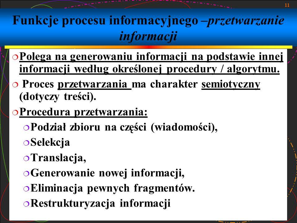 11 Funkcje procesu informacyjnego –przetwarzanie informacji Polega na generowaniu informacji na podstawie innej informacji według określonej procedury