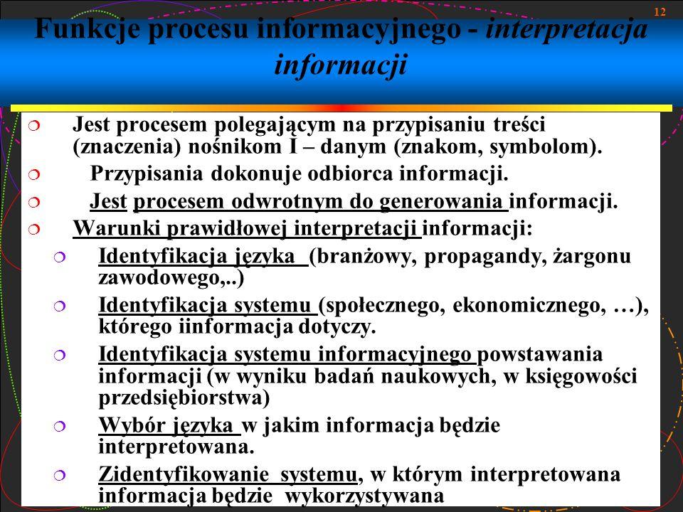 12 Funkcje procesu informacyjnego - interpretacja informacji Jest procesem polegającym na przypisaniu treści (znaczenia) nośnikom I – danym (znakom, s