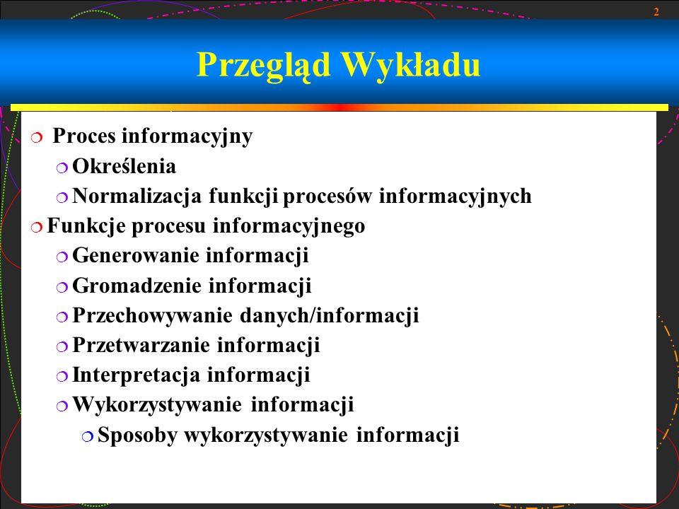 2 Przegląd Wykładu Proces informacyjny Określenia Normalizacja funkcji procesów informacyjnych Funkcje procesu informacyjnego Generowanie informacji G
