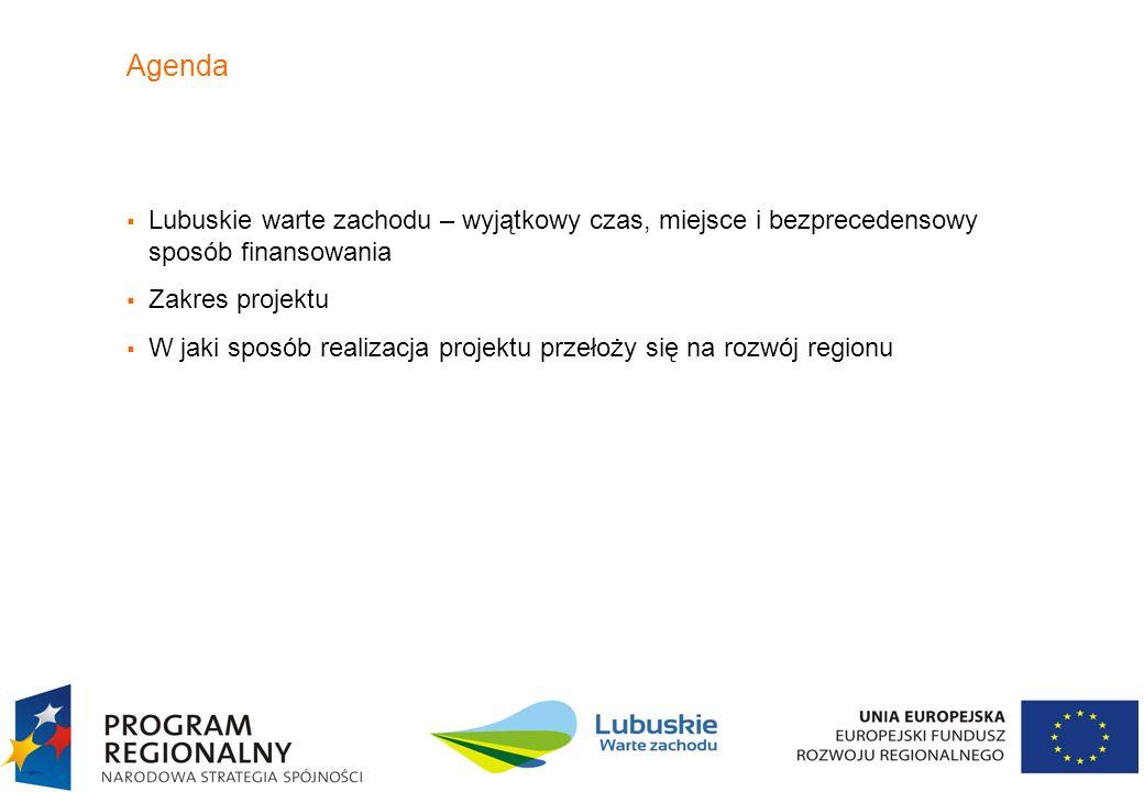 3 Lubuskie warte zachodu Wyjątkowy czas - Fundusze UE na rozwój szerokopasmowego Internetu w Polsce Wyjątkowe miejsce – województwo najlepiej radzące sobie z wykorzystaniem unijnych dotacji, Zmiana podejścia do wykorzystania środków unijnych: –rozporządzenie MRR z 7 grudnia 2009 r umożliwiające realizację projektów bez notyfikacji UE –przesunięcie części środków UE na realizację sieci dystrybucyjnej i dostępowej – zmiana linii demarkacyjnej –rezygnacja z projektów indywidualnych realizowanych przez województwo, z powołaniem Operatora Infrastruktury a zamiast tego rozdysponowanie środków w konkursach dla przedsiębiorców –dopuszczenie do przetargów dużych operatorów, w tym TP, jako beneficjentów środków UE Wyjątkowa szansa – dla Województwa Lubuskiego oraz dla Telekomunikacji Polskiej