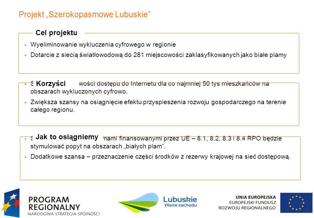 4 Projekt Szerokopasmowe Lubuskie Wyeliminowanie wykluczenia cyfrowego w regionie Dotarcie z siecią światłowodową do 281 miejscowości zaklasyfikowanyc