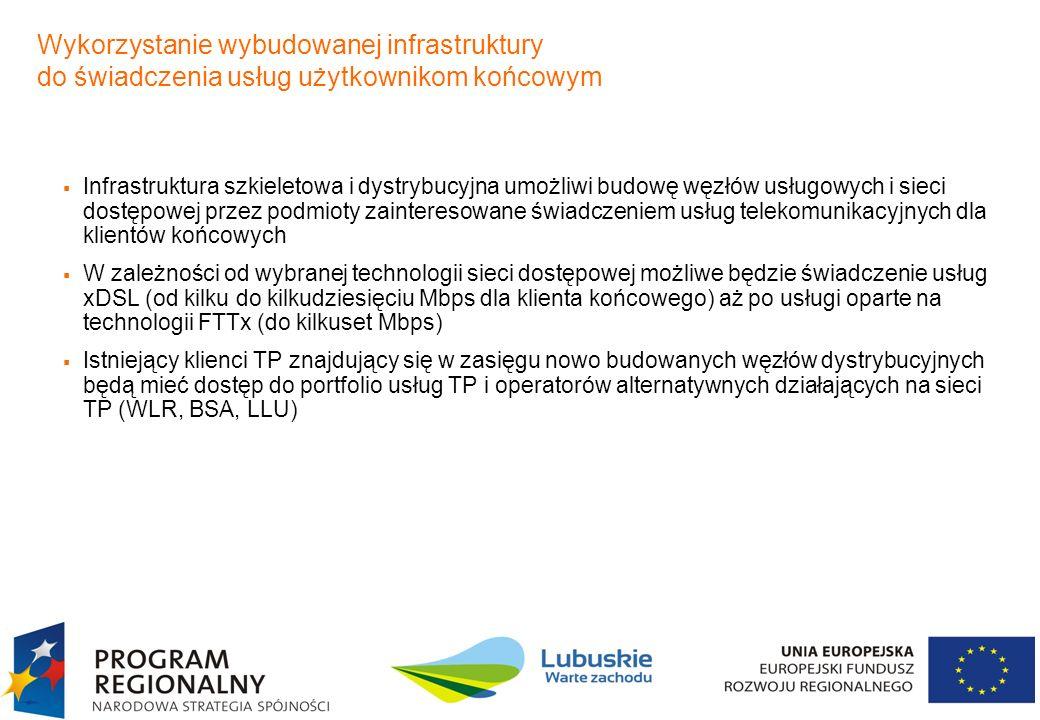 6 Infrastruktura szkieletowa i dystrybucyjna umożliwi budowę węzłów usługowych i sieci dostępowej przez podmioty zainteresowane świadczeniem usług tel