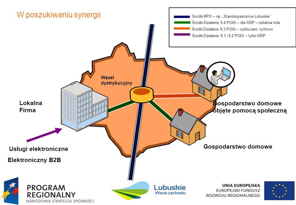7 W poszukiwaniu synergii Lokalna Firma Usługi elektroniczne Elektroniczny B2B Węzeł dystrybucyjny Gospodarstwo domowe objęte pomocą społeczną Gospoda