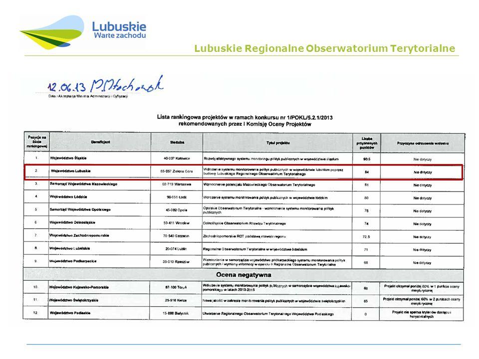 Poddziałanie 5.2.1 PO KL Tytuł projektu: Wdrożenie systemu monitorowania polityk publicznych w województwie lubuskim poprzez budowę Lubuskiego Regionalnego Obserwatorium Terytorialnego Okres realizacji: 01.03.2013 r.