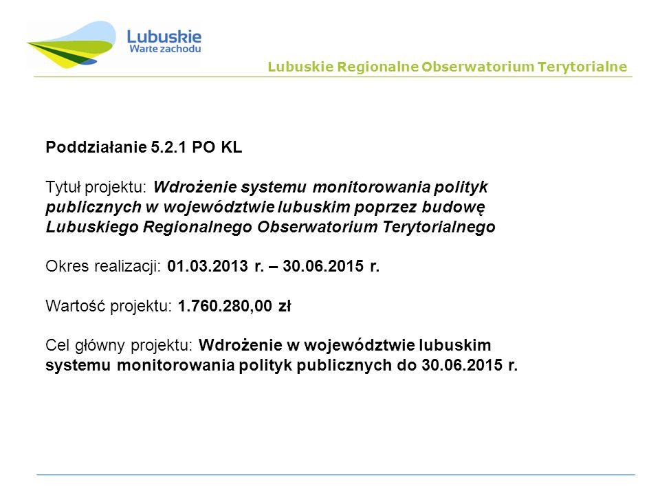 Poddziałanie 5.2.1 PO KL Tytuł projektu: Wdrożenie systemu monitorowania polityk publicznych w województwie lubuskim poprzez budowę Lubuskiego Regiona