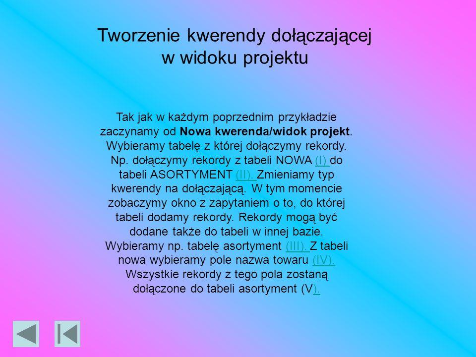 Tworzenie kwerendy dołączającej w widoku projektu Tak jak w każdym poprzednim przykładzie zaczynamy od Nowa kwerenda/widok projekt.