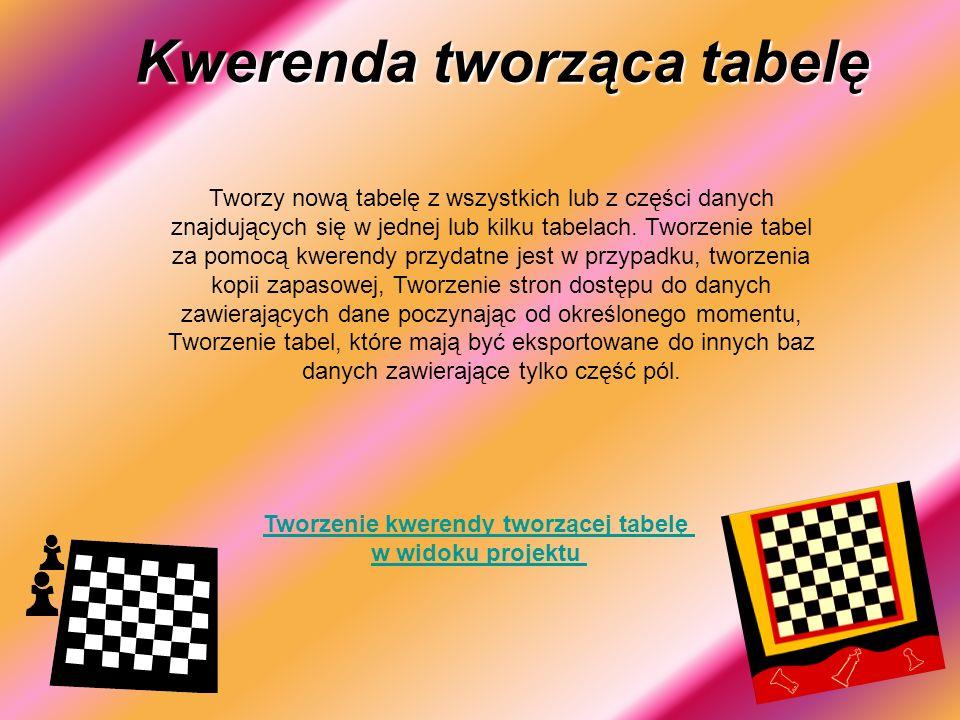Kwerenda tworząca tabelę Tworzy nową tabelę z wszystkich lub z części danych znajdujących się w jednej lub kilku tabelach.