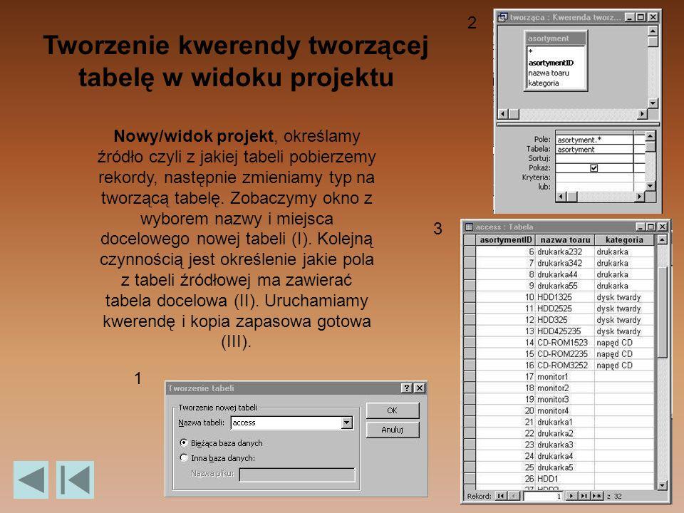 Tworzenie kwerendy tworzącej tabelę w widoku projektu Nowy/widok projekt, określamy źródło czyli z jakiej tabeli pobierzemy rekordy, następnie zmieniamy typ na tworzącą tabelę.
