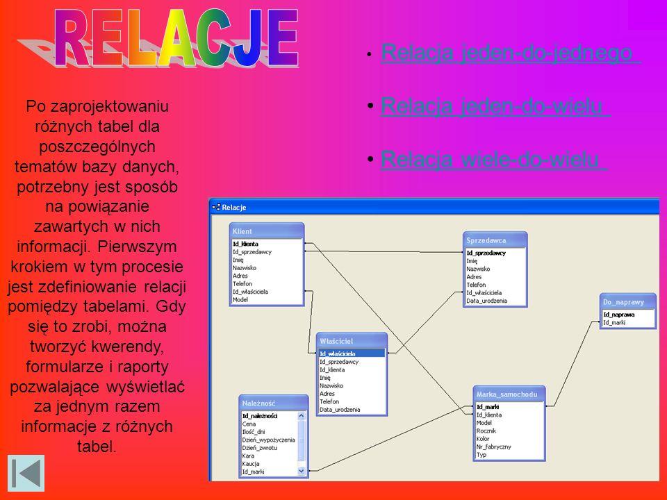 Po zaprojektowaniu różnych tabel dla poszczególnych tematów bazy danych, potrzebny jest sposób na powiązanie zawartych w nich informacji.