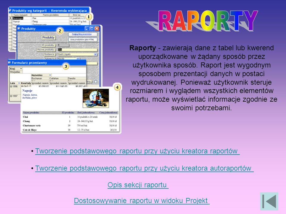 Raporty - zawierają dane z tabel lub kwerend uporządkowane w żądany sposób przez użytkownika sposób.